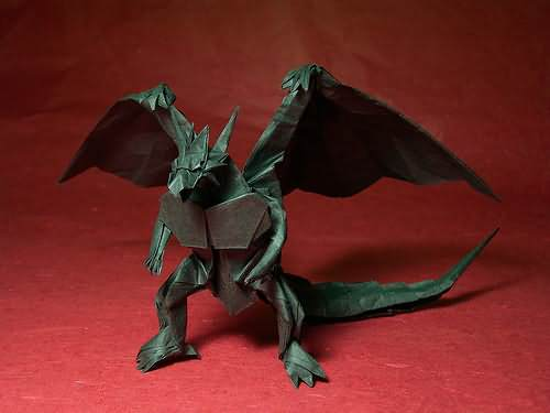 origami dragon standing