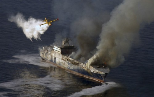 Ocean tanker fire getting doused