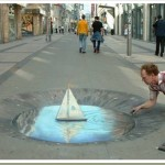 Amazing 3D sidewalk art - this is on a flat surface!