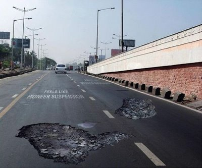 Look out for huge potholes in the road