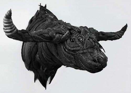 Recycled Tire Art Like You Have Never Seen Before - buffalo head