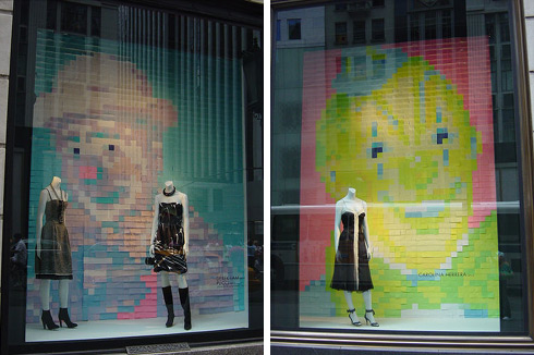 Post It Note Art: fashion store post-it note window display