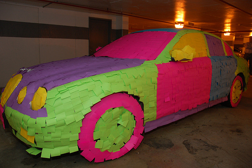 post-it-note prank: decorated and covered jaguar-2