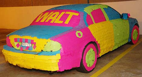 post-it-note prank: decorated and covered jaguar
