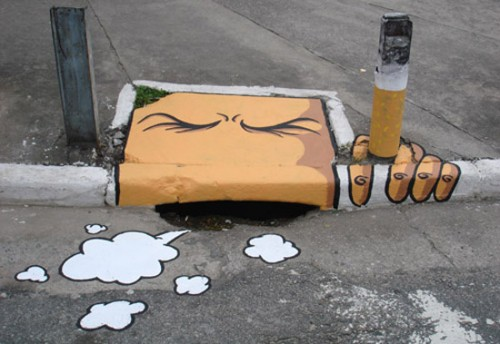Smoking sewer graffiti art