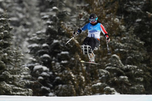 Alana Nichols of the USA practices during a training run for the Sitting Womens Downhill competition prior to the 2010 Vancouver Winter Paralympics at Whistler Creekside_2010_Whistler Canada
