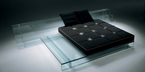 Glass bed frame by Italian designer Santambrogio Milano