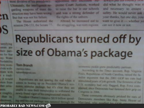 Obama package headline