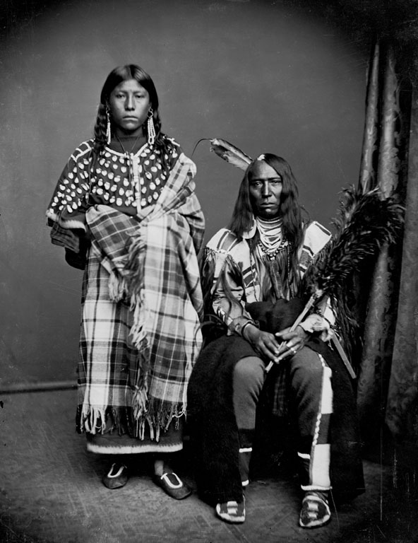 Bear Wolf and wife Stays With Horses - Crow - 1873