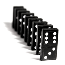 Dominoes standing up