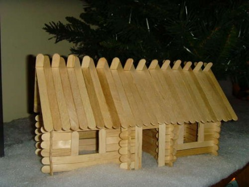 Wooden Popsicle-Stick-Log-Cabin