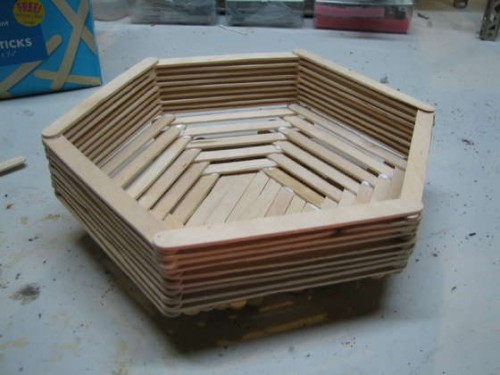 Wooden popsicle stick basket