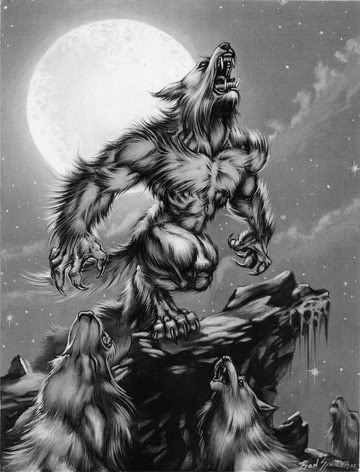 Werewolf pack howling at the moon