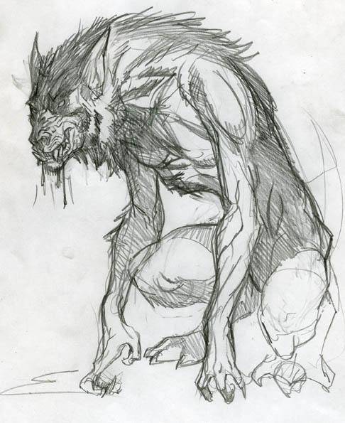 werewolf pencil drawing