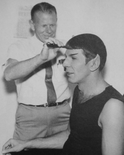 Leonard Nimoy getting his Spock haircut