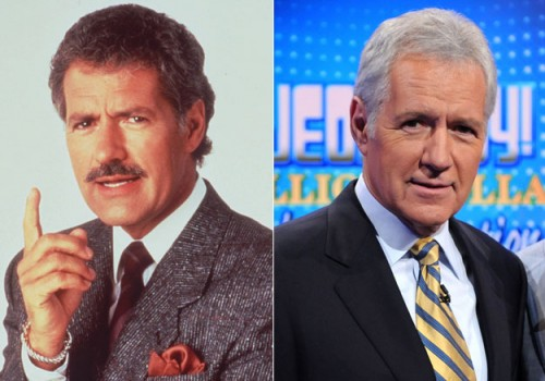 Alex Trebek - mustache before and after