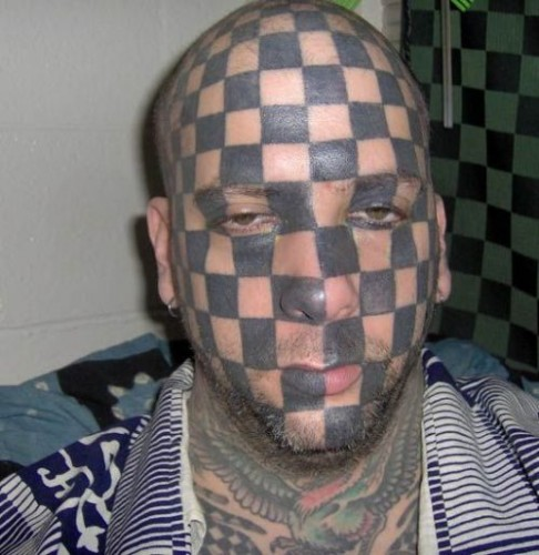 Checkerboard tattoo guy