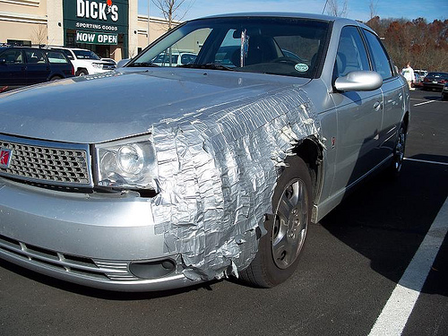Duct tape car repair