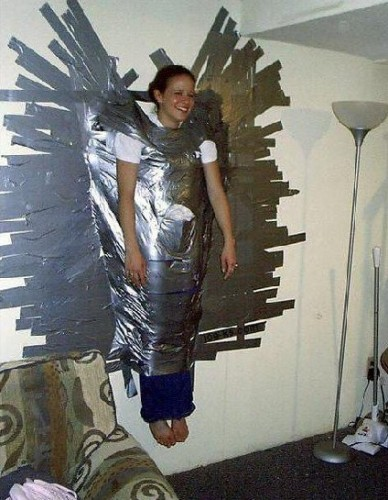 Duct taped to the wall - works on grown-ups too