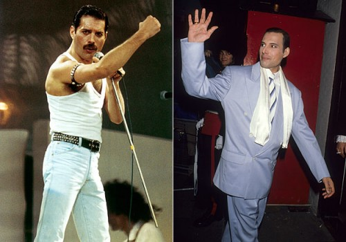 Freddie Mercury - mustache before and after