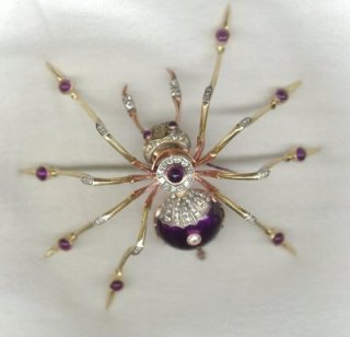 Gold and bejewelled spider