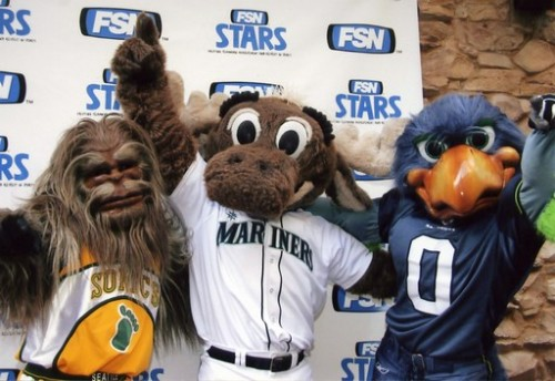 Seattle mascots - Seattle Mariners (Mariner Moose), Seattle Supersonics (Squatch), Seattle Seahwaks (Blitz)