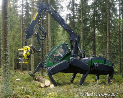 giant spiderbot forest walkign machine for logging
