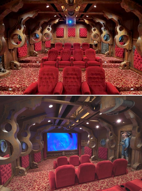 Cool creative unique themed home theater - the nautilus theme home theatre