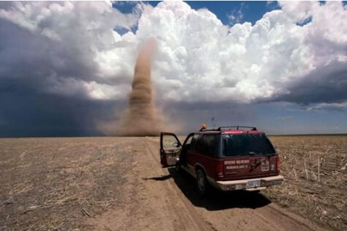 Storm chasers find a twister