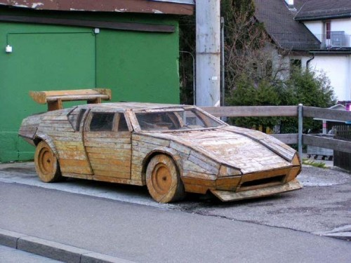 Wood carved Ferrari