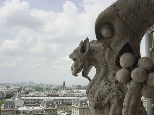 gargoyles over paris from notre dame