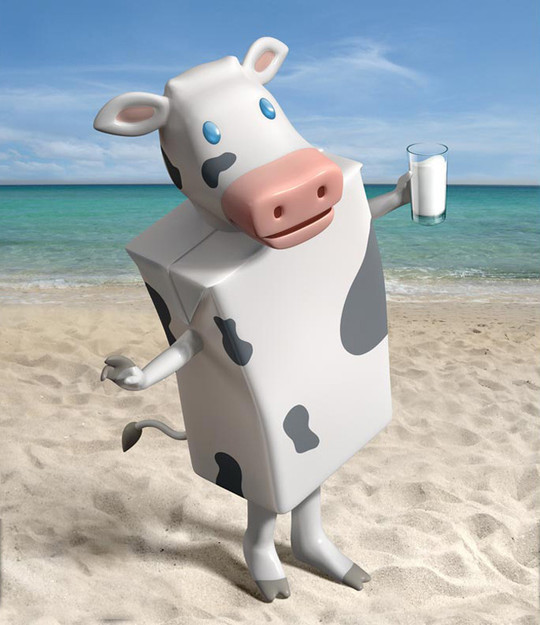 milk cow on the beach