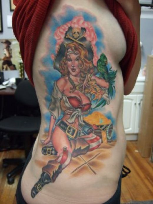Pin up pirate by Tim Harris-classic pin up girl tattoo