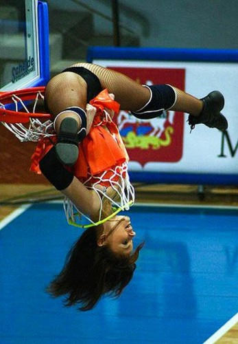 Cheerleader in the basket - nuthin' but net.