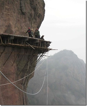 Extreme DIY - totally crazy extreme construction-building a walkway along the side of a mountain