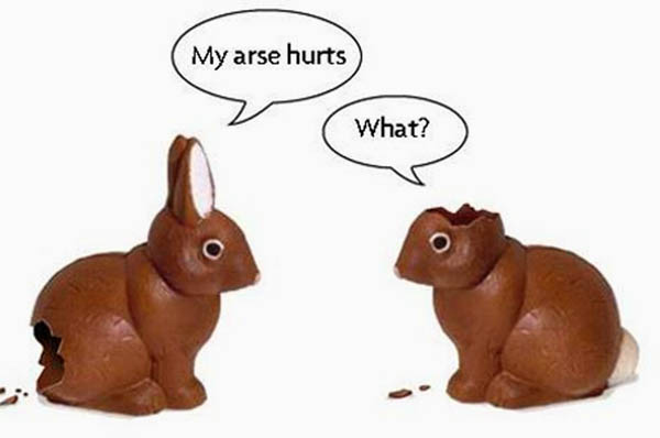 easter bunny arse hurts
