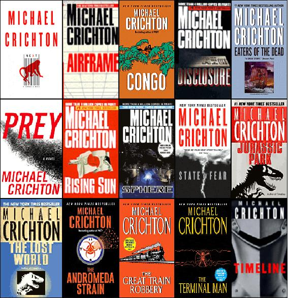 michael crichton book covers montage