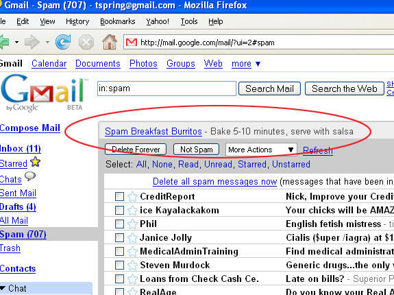 Gmail spam box page