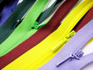 YKK coloured zippers