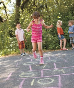 List o' 15 Games Kids Played Before the Internet: hopscotch