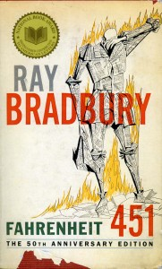 List o' 10 Books with Dystopian Themes - Fahrenheit 451 by Ray Bradbury