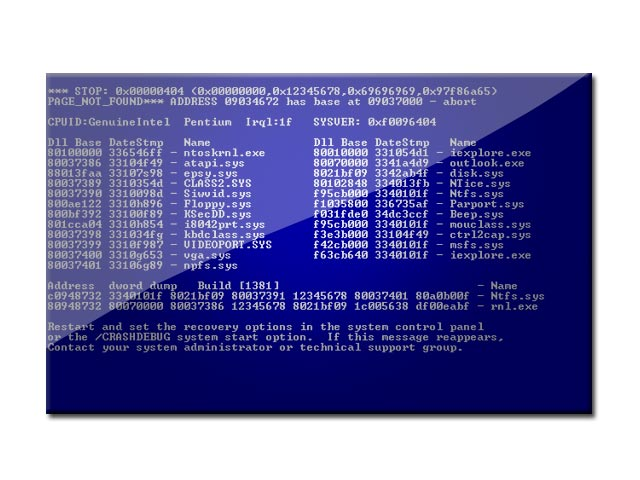 The Blue Screen of Death Screensaver | LOP – Lists o Plenty