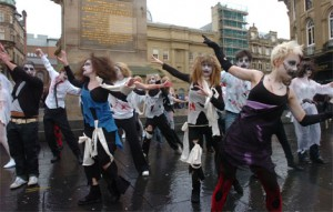 Zombie flash mob