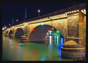 London Bridge in Lake Havasu City Arizona - at night