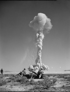 marines involved in nuclear weapons live detonation testing in Nevada desert