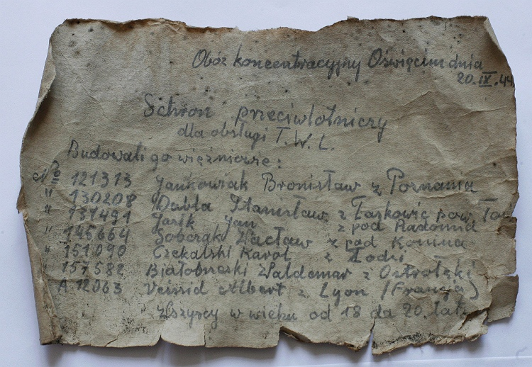Auschwitz Prisoners message_in_a_bottle