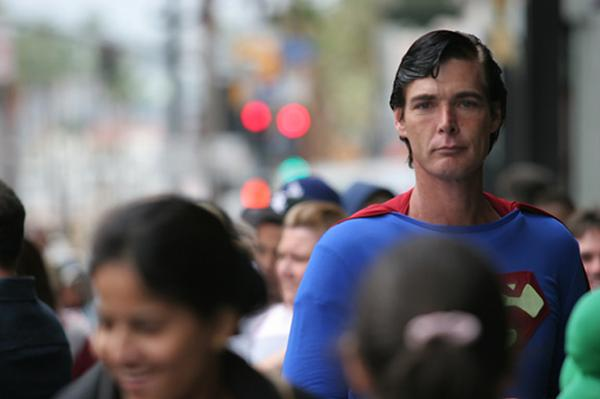 superman walking the streets